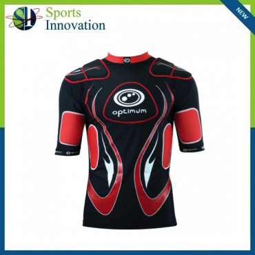 """Optimum Rugby """"Inferno"""" Body Protection Top - Black/Red"""