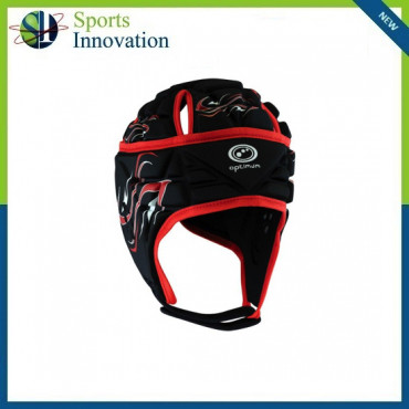 """Optimum Rugby """"Inferno"""" Head Guard Protection Cap - Black/Red"""
