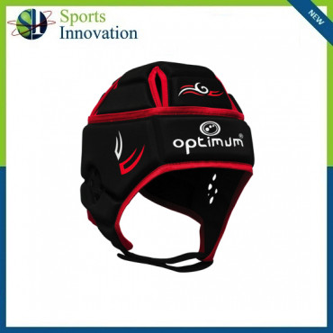 """Optimum Rugby """"Tribal"""" Head Guard Protection Cap - Black/Red"""