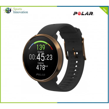 Polar IGNITE Sports Wrist Watch with Advanced Wrist-Based Optical Heart Rate Monitor, Training Guide, GPS, Waterproof - Black/Copper